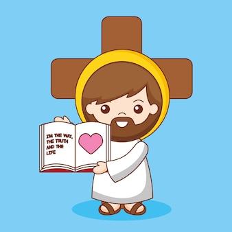 Jesús con biblia y cruz de dibujos animados. jesús caminó por la verdad y la vida, ilustración de dibujos animados