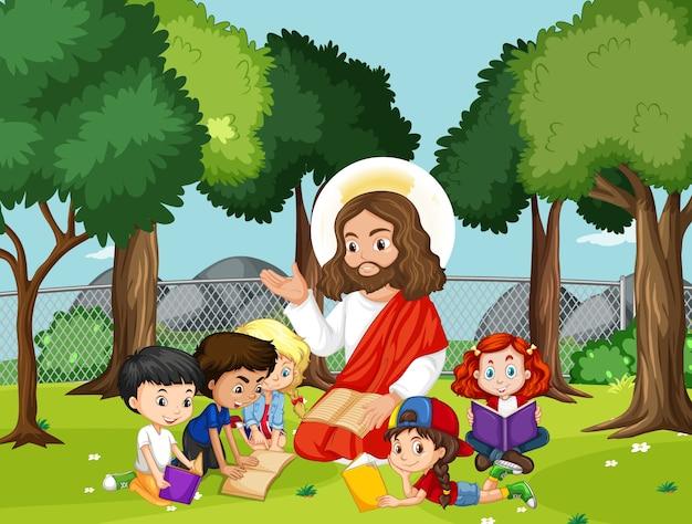 Jesús con niños en el parque