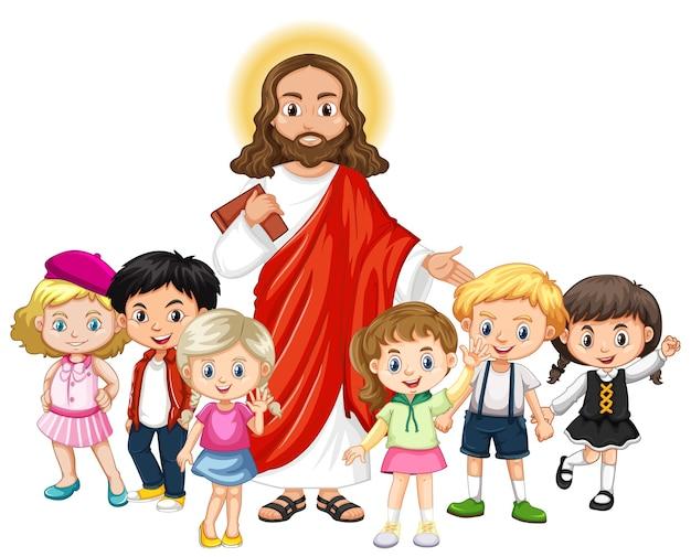 Jesús con un personaje de dibujos animados de grupo de niños
