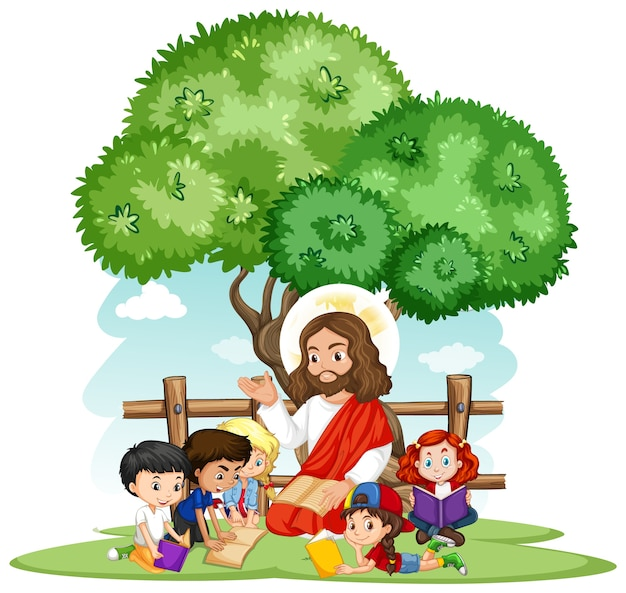 Jesús predicando a un personaje de dibujos animados de grupo de niños
