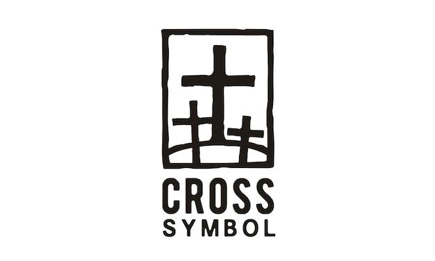 Jesus & two thieves logo illustration