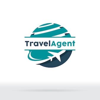 Jet aircraft con el símbolo del globo para la agencia de viajes, compañía del viaje, agencia del boleto aéreo.