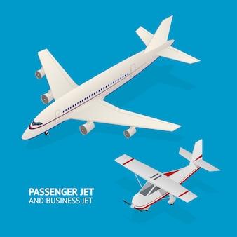Jet set. vista isométrica. transporte de pasajeros
