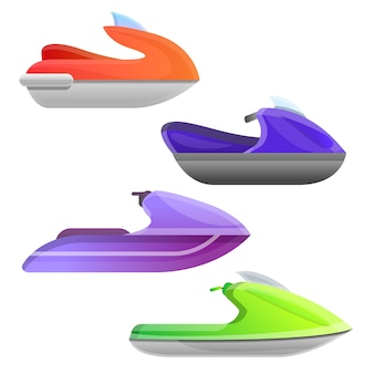 Jet ski set. conjunto de dibujos animados de jet ski