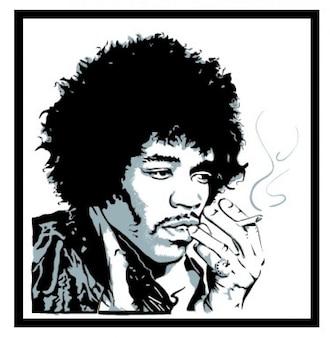 Jimmy hendrix retrato fumar