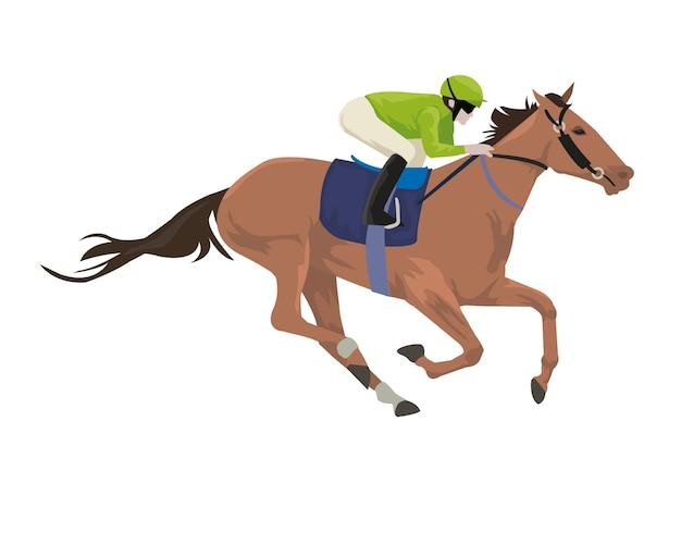 Jinete con caballo está haciendo ejercicio en pista de carreras