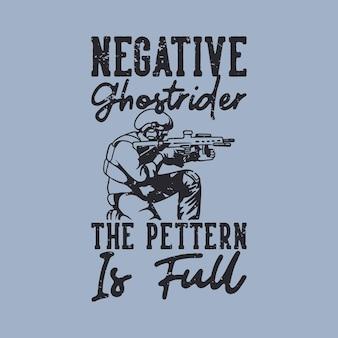 El jinete fantasma negativo de la tipografía del lema del vintage el pettern está lleno