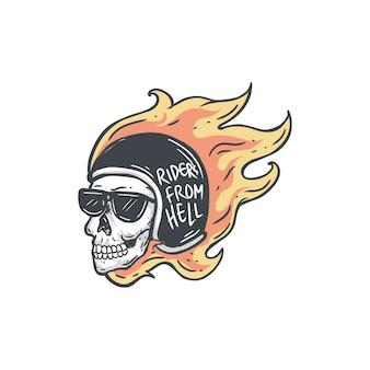 Jinetes del infierno cráneo llamas biker diseño ilustración