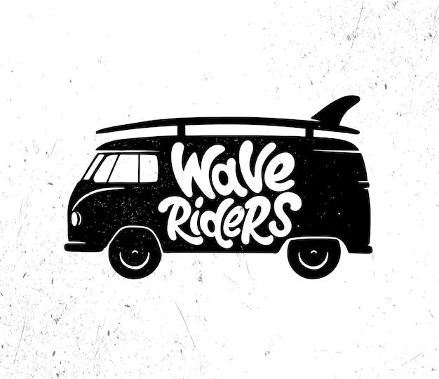 Jinetes de olas. gráficos, logotipos, etiquetas e insignias de citas de surf. ilustración vectorial