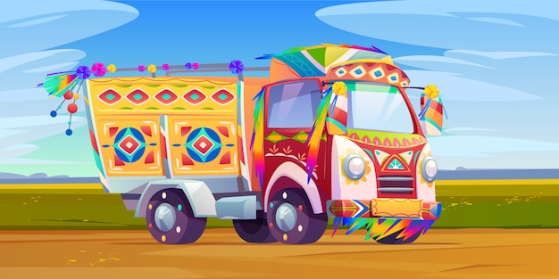 Jingle truck, transporte adornado de india o pakistán