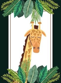 Jirafa africana salvaje con marco cuadrado de hojas