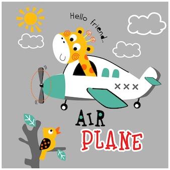 Jirafa en el avión dibujos animados de animales divertidos