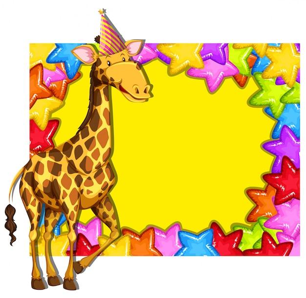 Jirafa en el borde colorido