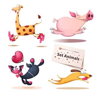Jirafa, cerdo, gato, perro, animales.