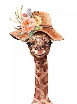 Jirafa con una flor sombrero acuarela. pintura de jirafa.