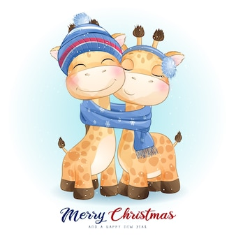 Jirafa linda del doodle para el día de navidad con la ilustración de la acuarela