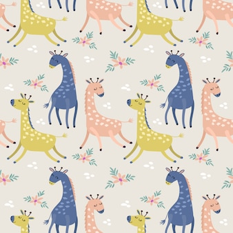 Jirafa linda en papel pintado inconsútil de la materia textil de la tela del modelo del color en colores pastel.