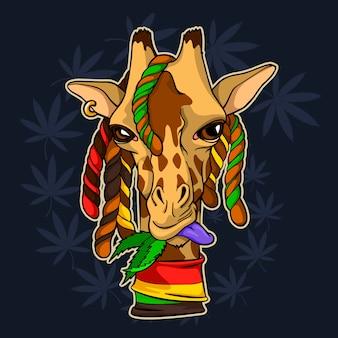 Jirafa rastafari mastica hojas de cannabis