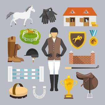 Jockey icons flat