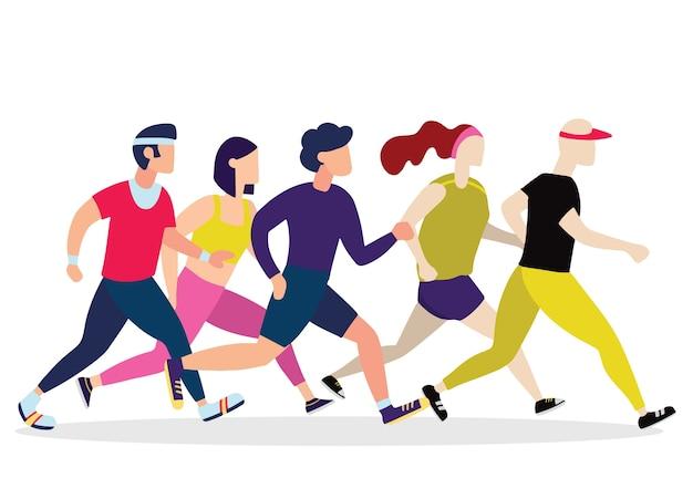 Jogging personas. los corredores se agrupan en movimiento