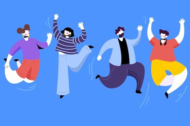 Jornada juvenil con colección de personas saltando