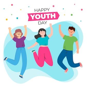 Jornada juvenil con jóvenes saltando y confeti