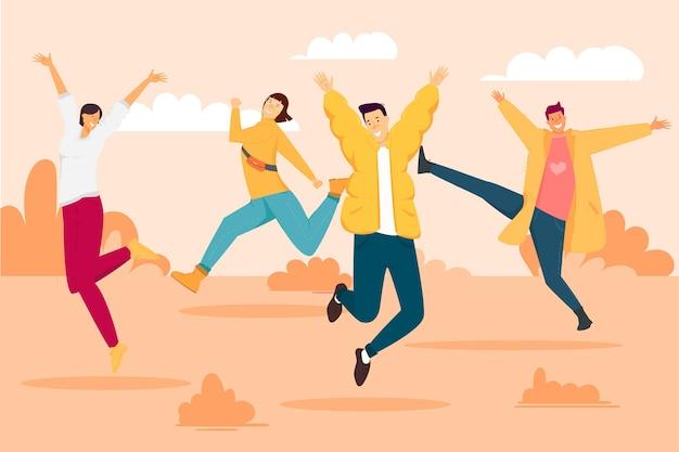 Jornada juvenil con jóvenes saltando