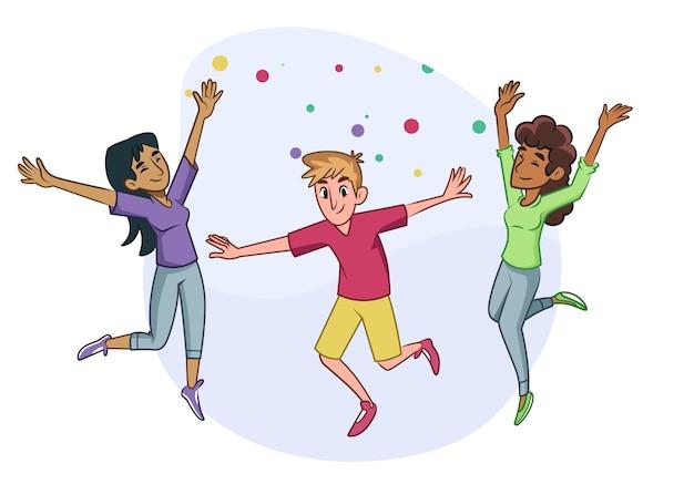 Jornada juvenil saltando personas en diseño plano