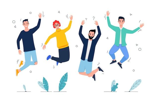 Jornada de la juventud plana - gente saltando