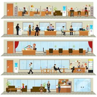 Jornada laboral en un edificio de oficinas