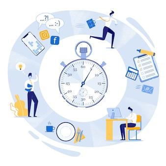 Jornada de trabajo, cronómetro con tareas diarias.