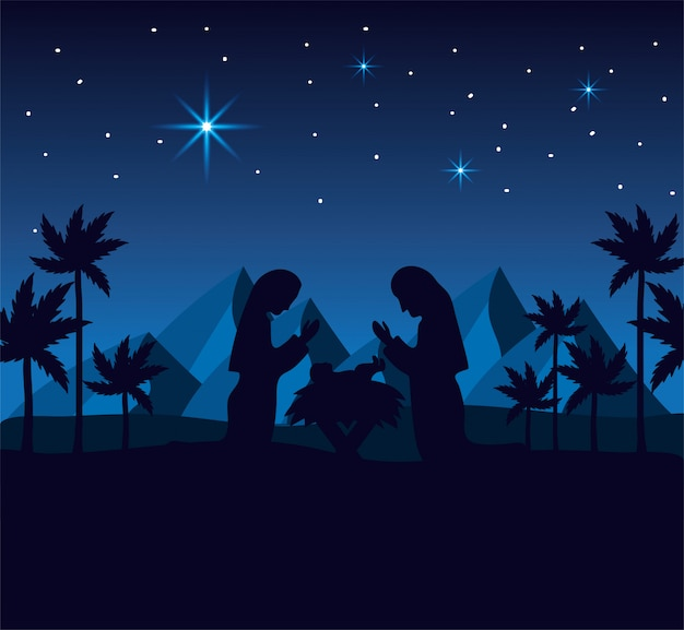 José y maría con jesús en el desierto con montañas
