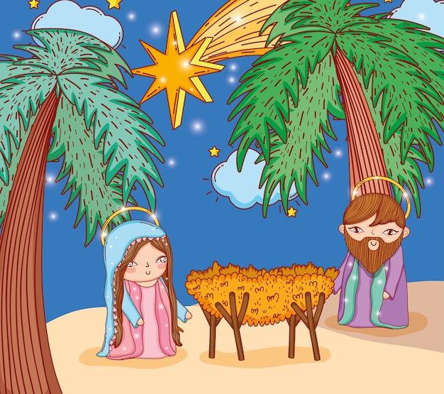Joseph y mary con palmeras y estrella