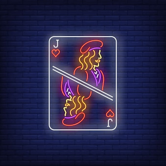 Jota de corazones naipe letrero de neón.