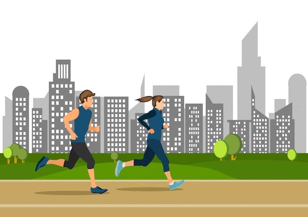 Joven activo chico y chica corriendo en la calle pública deportes ilustrados