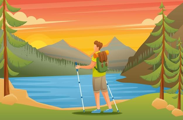 Joven admira la belleza de la naturaleza en el lago