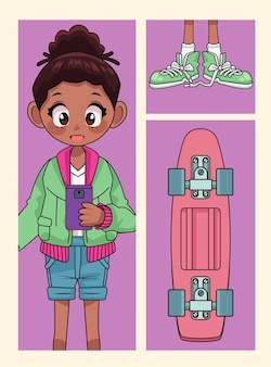Joven adolescente afro con zapatos y patineta ilustración de personaje de anime