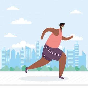 Joven afro con máscara médica corriendo personaje de avatar