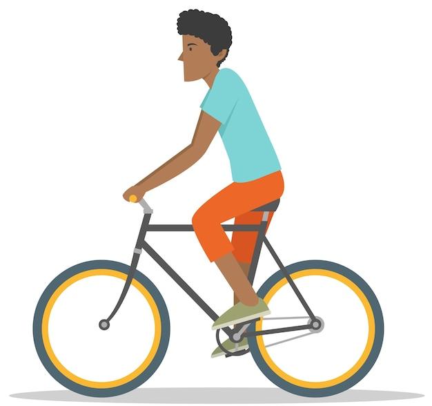 Joven afroamericano paseo bicicleta asport