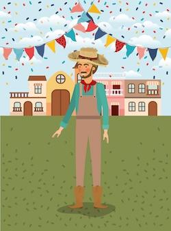 Joven agricultor celebrando con guirnaldas y paisaje urbano.