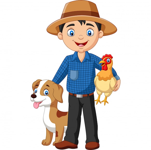 Joven agricultor de dibujos animados con gallina y perro