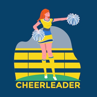 Joven animadora en traje amarillo y azul con pompones en el estadio de fondo ilustración premium