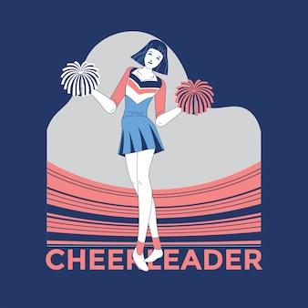 Joven animadora en traje azul y blanco con pompones en el estadio de fondo ilustración premium