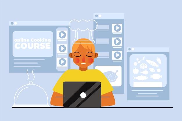 Joven aprendiendo cursos en línea