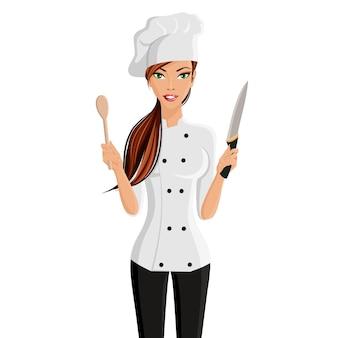 Joven atractiva mujer en el restaurante chef sombrero con cuchillo y espátula aisladas sobre fondo blanco ilustración vectorial