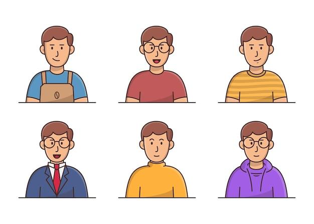 Joven con avatar de ropa diferente. colección de avatar de hombres jóvenes sonrientes