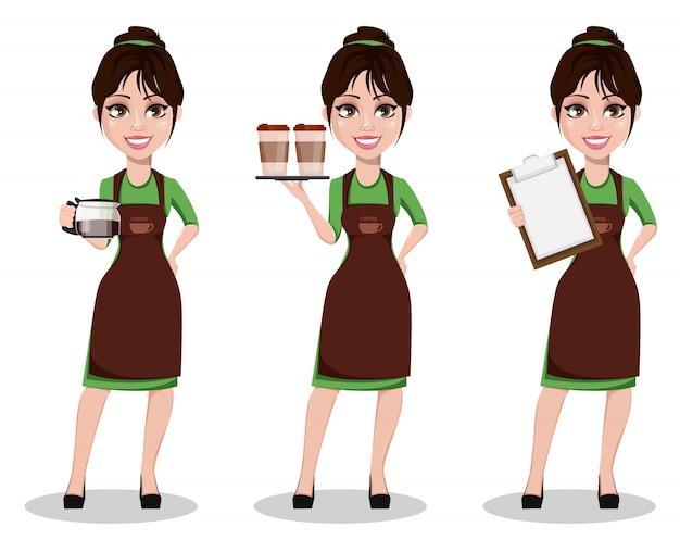 Joven barista femenina en uniforme profesional.