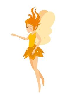 Joven, bastante, angelical, hada, amarillo, niña