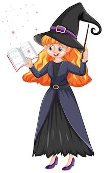 Joven bruja hermosa con estilo de dibujos animados varita y libro aislado en blanco