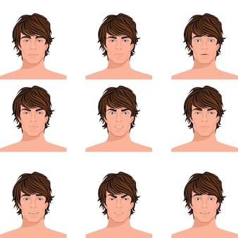 Joven cabello oscuro hombre emociones gama de enojado confundido sorprendido alerta y feliz retratos cabeza colección aislados ilustración vectorial